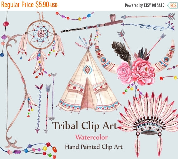 Indian clipart tribal Teepee Watercolor catcher dream Etsy