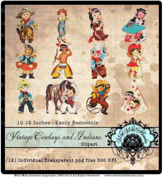 Cowboy clipart vintage cowboy Vintage Clipart Indians Western Cowboy