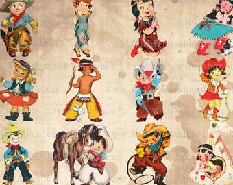 Indian clipart vintage Vintage Indians Valentines Cowgirl Vintage