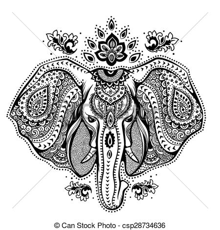 Indian clipart vintage Elephant with ornaments elephant Vector