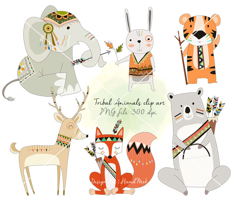 Indian clipart woodland Woodland animals Instant clipart Tribal