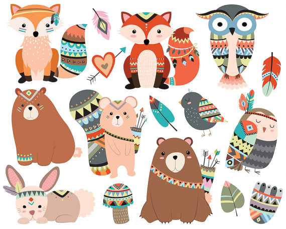 Indian clipart woodland Animals & Tribal Vector JPG