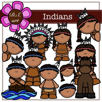 Indians clipart color Digital Clipart and black&white) by