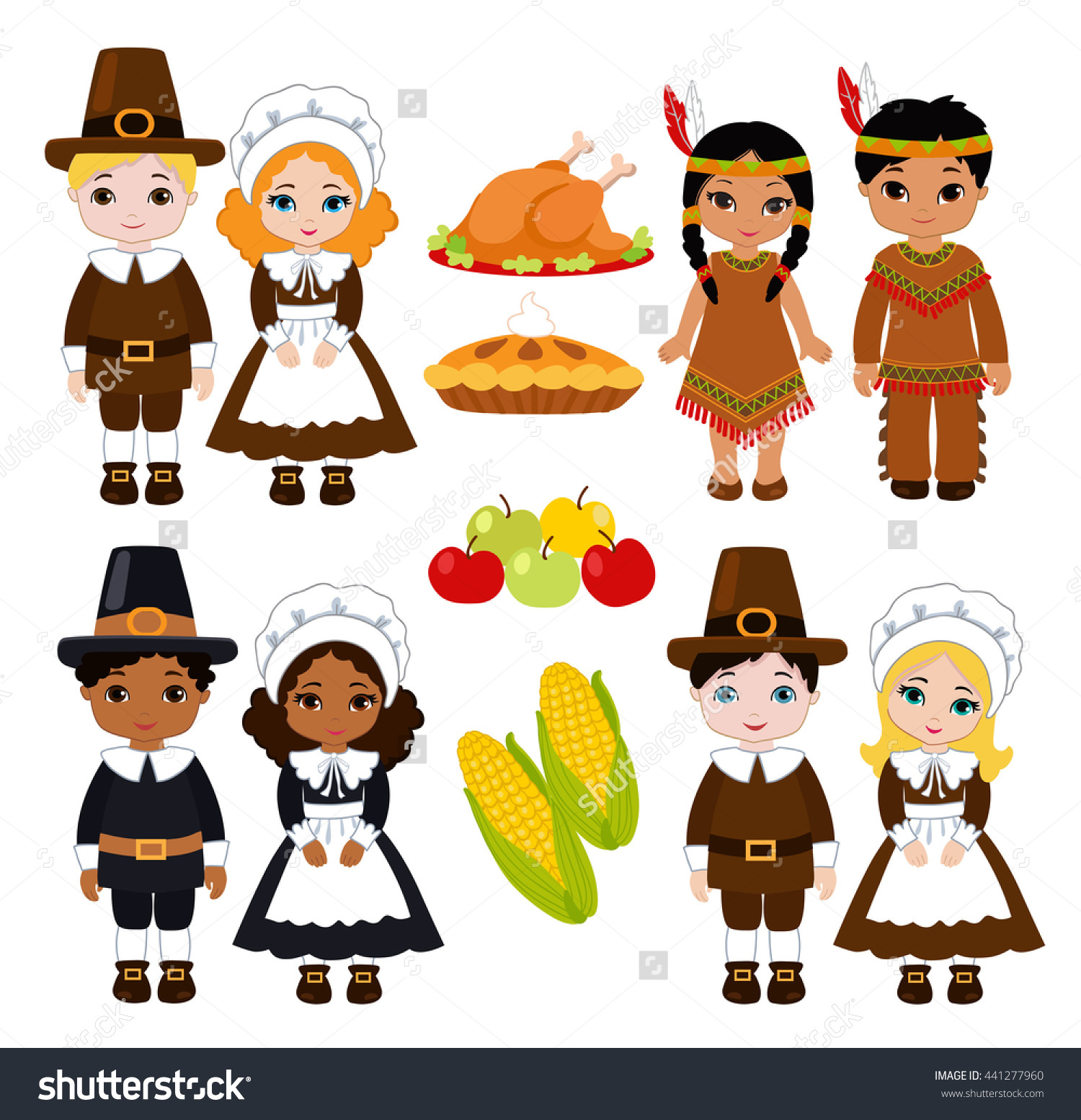 Indians clipart indian kid Food group sharing Thanksgiving sharing