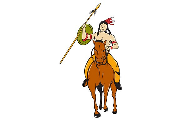 Horse Riding clipart native american Indian Illustrations ~ Riding Indian