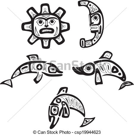 Indians clipart shoshone  indian Vector sun Illustration