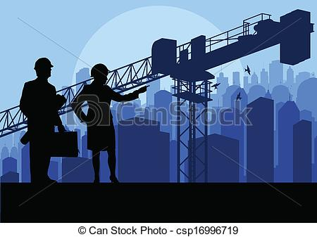 Skyscraper clipart building background Site Engineer construction background manager