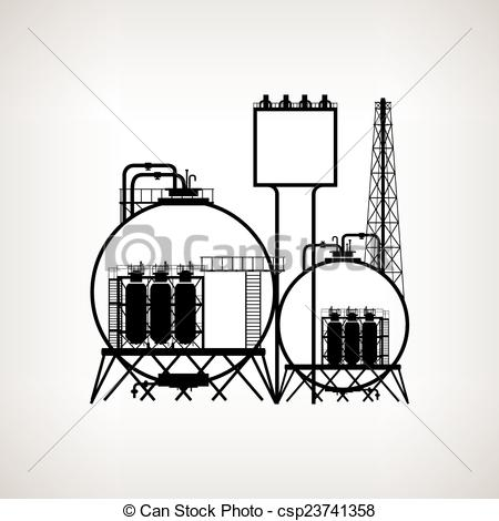 Industrial clipart chemical factory Processing plant Silhouette or of