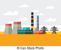 Industrial clipart electrical power plant Plant of industrial in Illustration