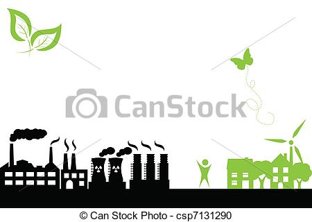 Industrial clipart factory symbol Of town Green and building