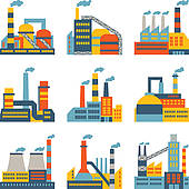 Industrial clipart manufacturing Plant icons flat Royalty Art