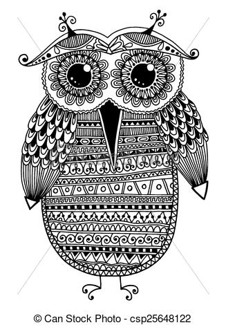 Owlet clipart hipster Ethnic ink and white owl