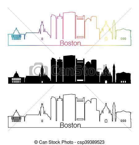 Inn clipart skyline Rainbow Vector  linear Boston
