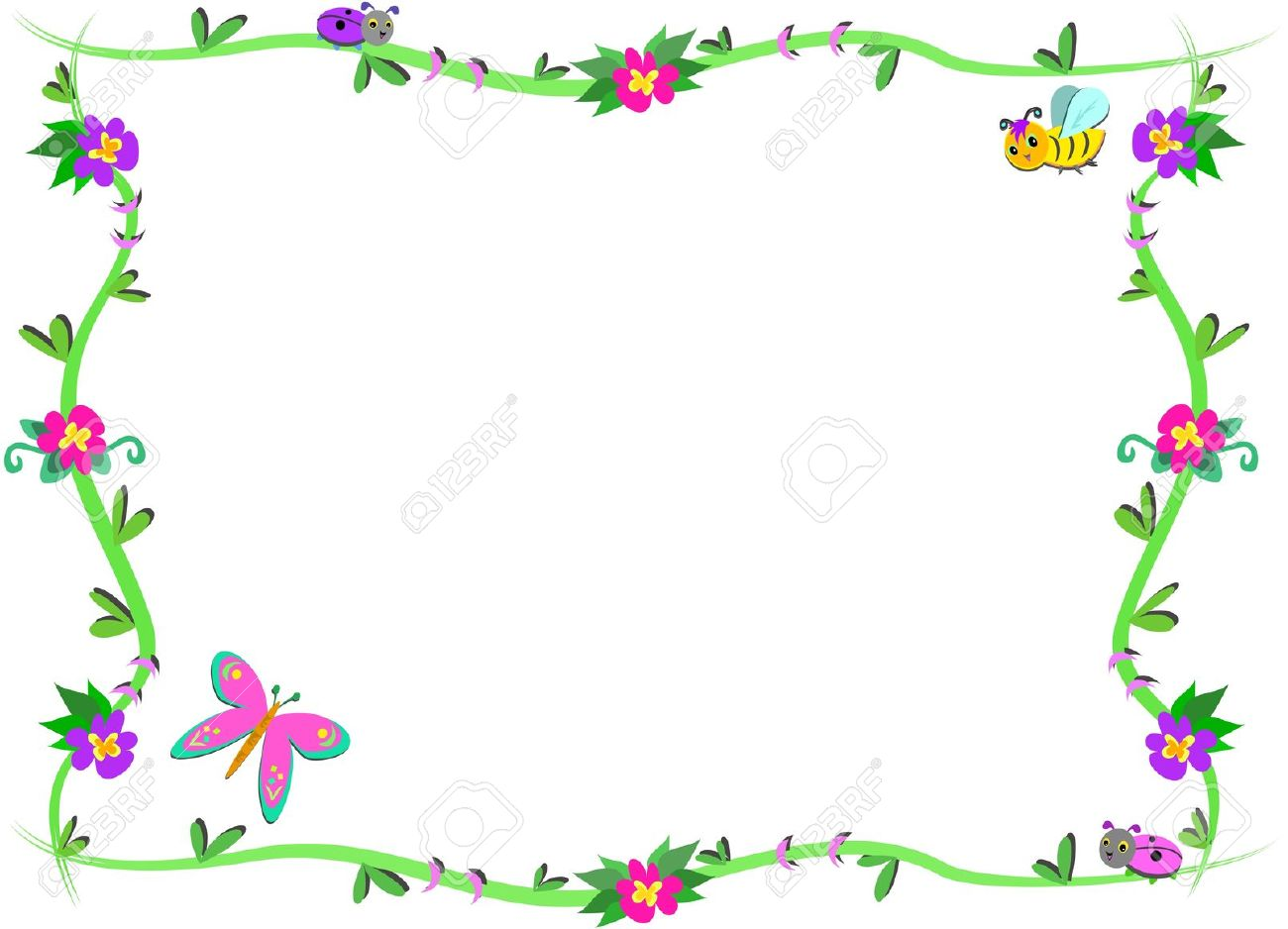 Bugs clipart border Border And Flowers Cute clipart