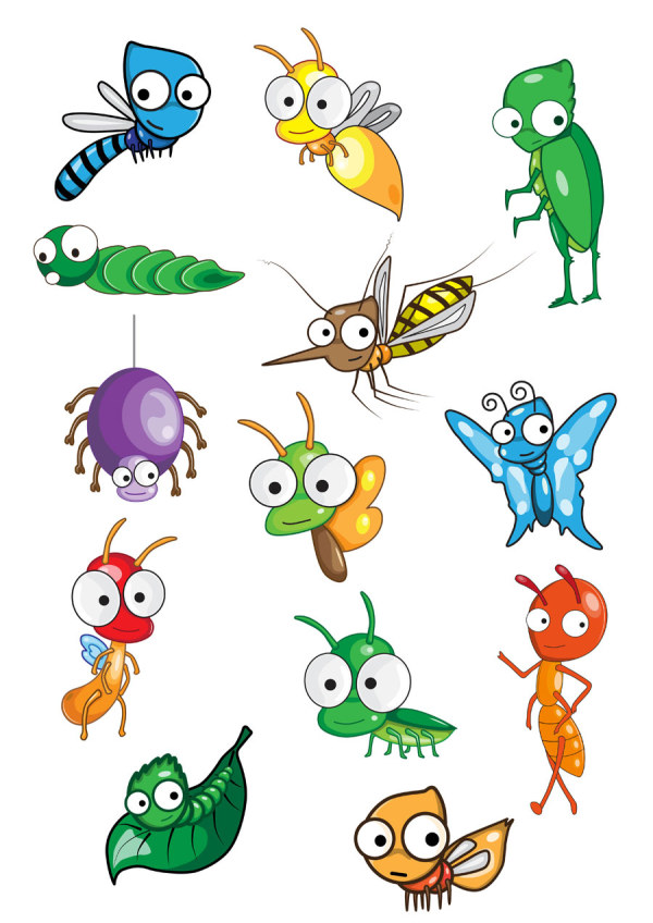Bugs clipart funny Vector Cartoon Cartoon+Bugs+Clip+Art collection insects