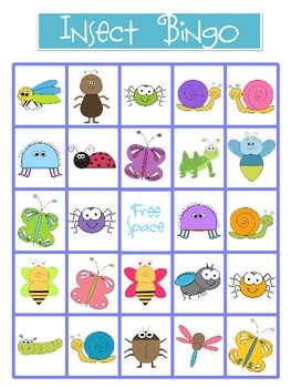 Bugs clipart printable Bug I For I Bingo