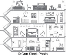 Bungalow clipart inside house 083 Illustrations Interior clipart interior