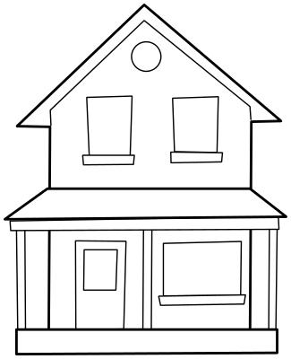 Villa clipart black and white And white black house white