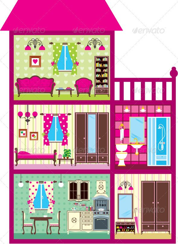 Bedroom clipart doll house #2