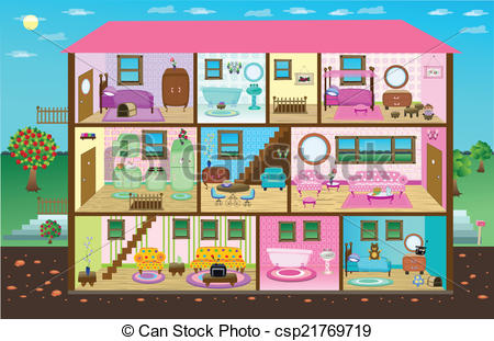 Inside clipart doll house Illustrations collection Clip Doll my