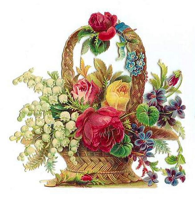 Inside clipart flower basket About Pinterest VINTAGE CARDS images
