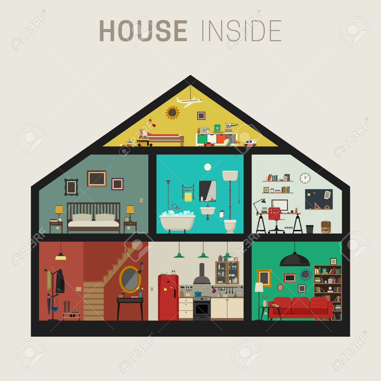 Inside clipart house interior Inside Interior collection House Vector