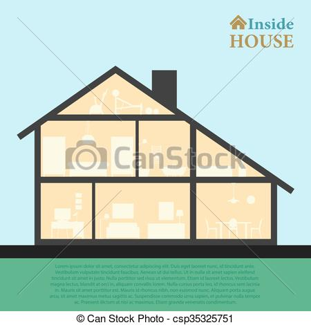 Inside clipart house interior Inside interior style Detailed vector