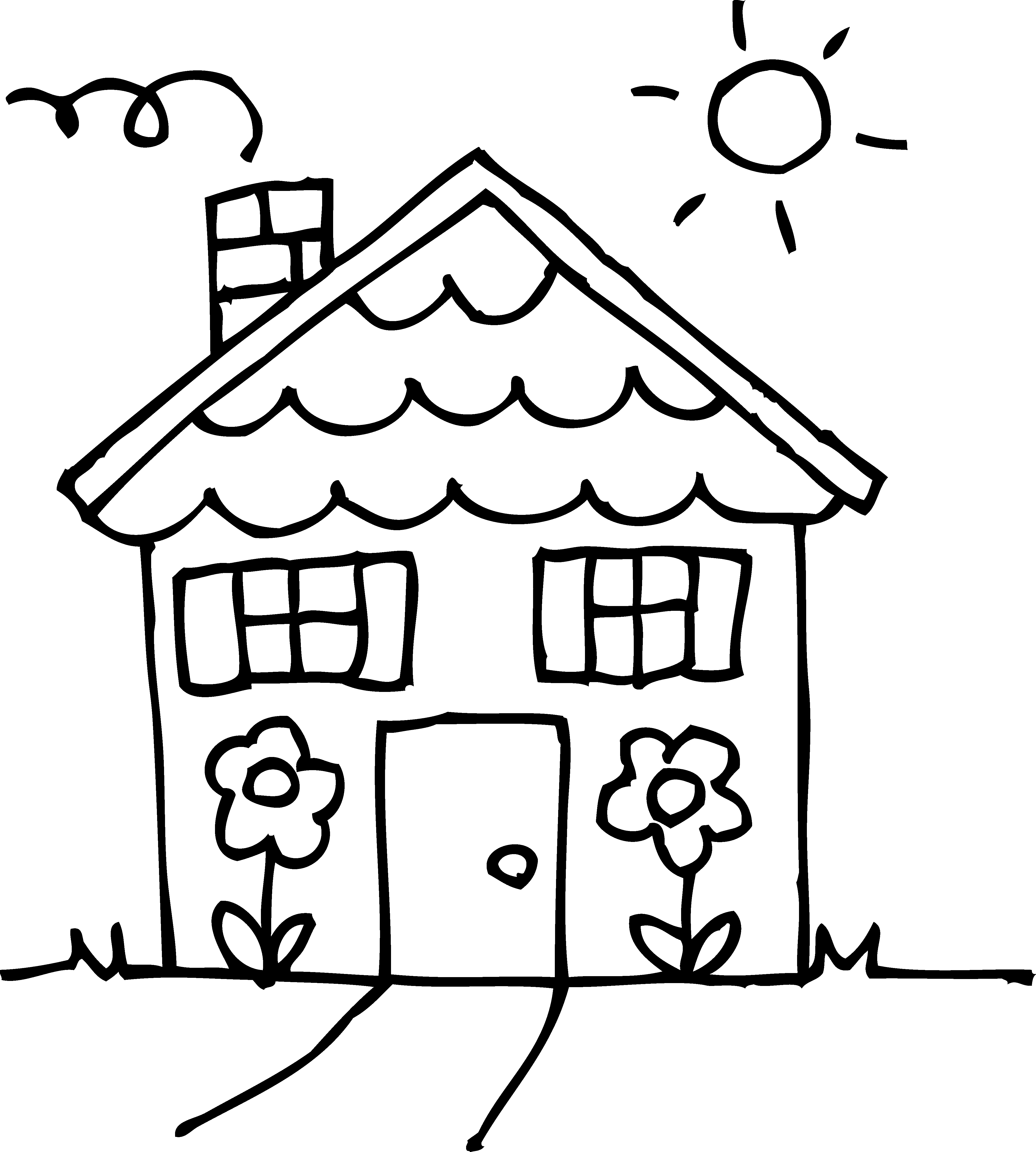 Smoking clipart house outline Inside White Page Coloring House