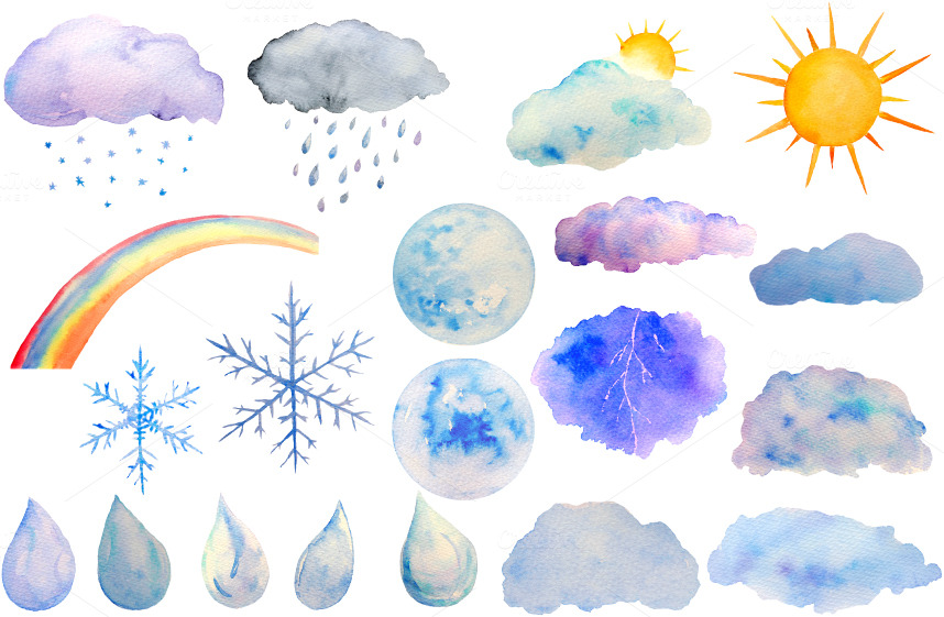 Inspirational clipart corner sun Watercolor Sol Weather Weather clipart