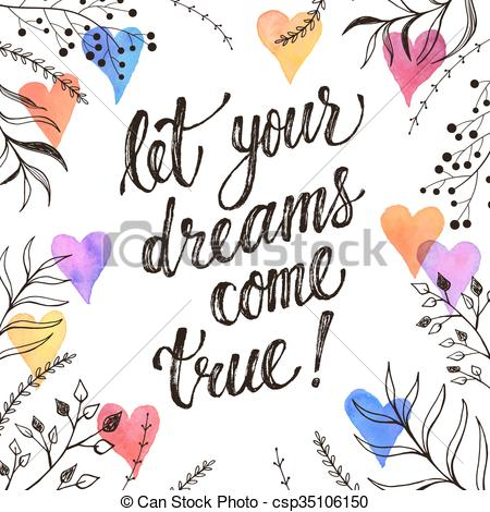 Inspirational clipart hand heart Drawn dreams hearts white