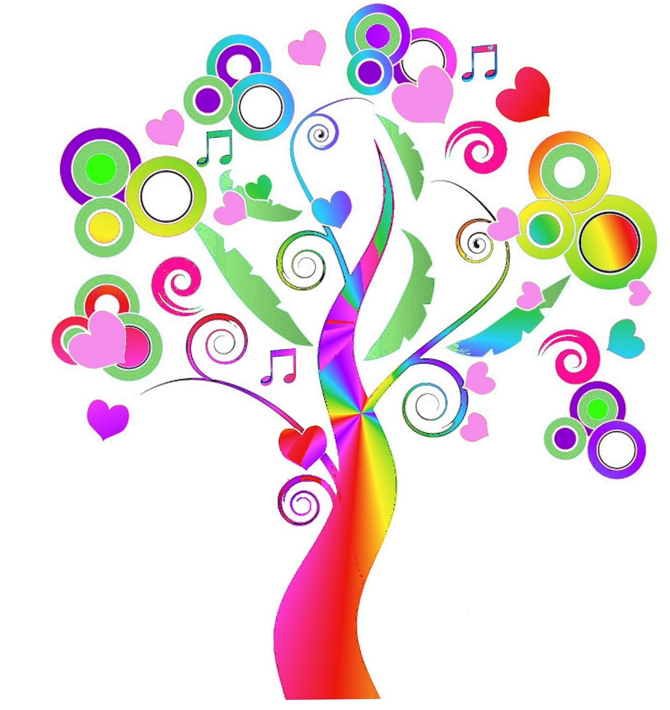 Inspirational clipart rainbow Musical journal notes tree book