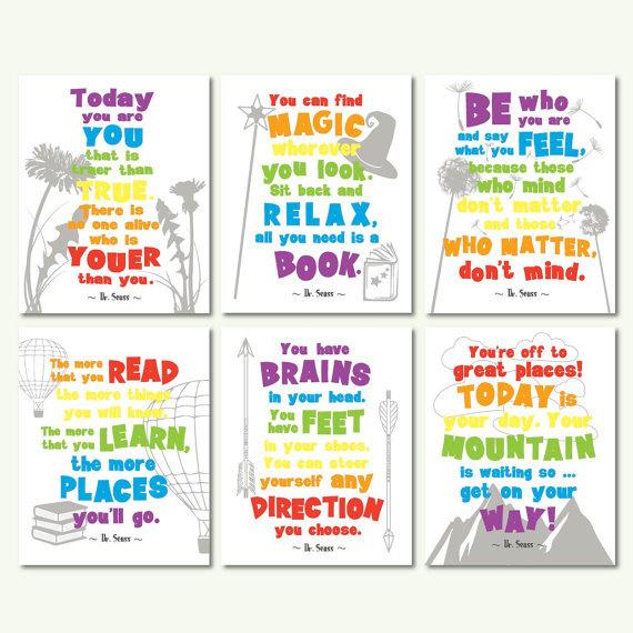 Inspirational clipart rainbow Seuss dr motivational colors quotes