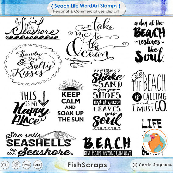 Typeface clipart Inspirational Quote Beach Typography Summer
