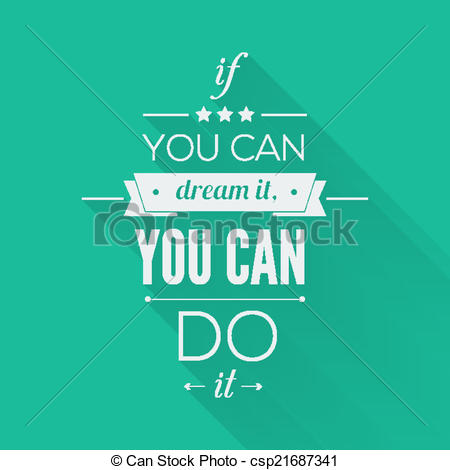 Inspirational clipart vector Vector can Quote can do