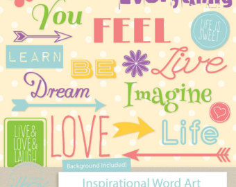Inspirational clipart word Love Inspirational & for Etsy