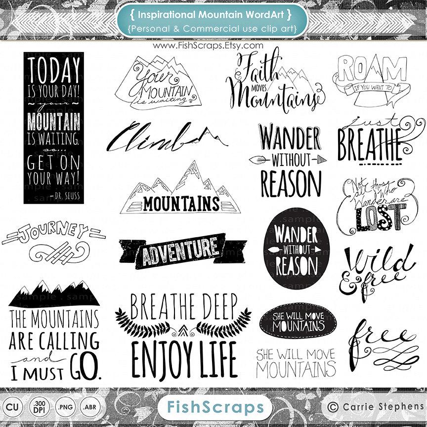 Inspirational clipart word Mountain Art Word Art Clip