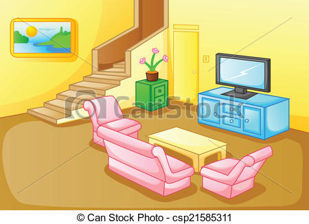Living Room clipart drawing room Art of Interior a house