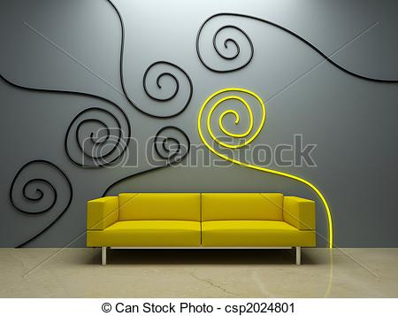 Interior Designs clipart couch Yellow couch design Clipart of