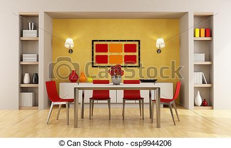 Living Room clipart dinning room Modern dining of room Illustration