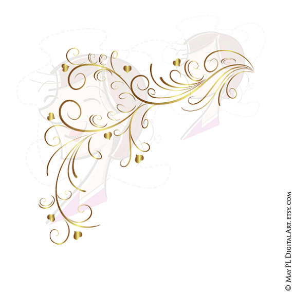 Bride clipart gold heart Curly Decorative 10313 Heart Border