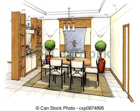 Drawn room dining room An simple Dining csp0874895 Room