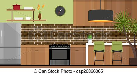 Kitchen clipart house room House Clip of furniture