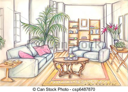 Living Room clipart drawing room Furniture csp6487870 Stock living room