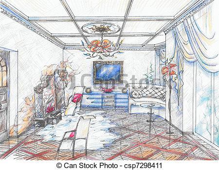 Drawn room interior Of drawn sketch Interior Clipart