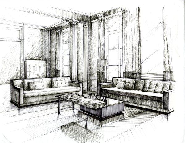Drawn amd interior design On Drawing sketch Interior Wenyu