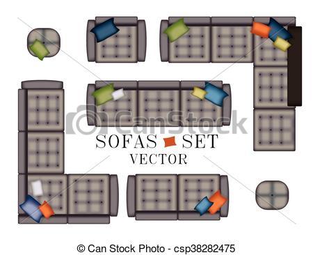 Interior Designs clipart sofa set Top view  Set Furniture
