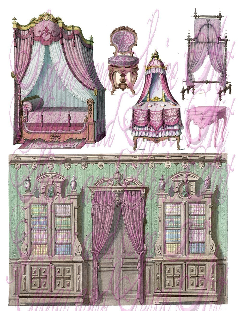 Interior Designs clipart vintage Furniture clipart french clip black