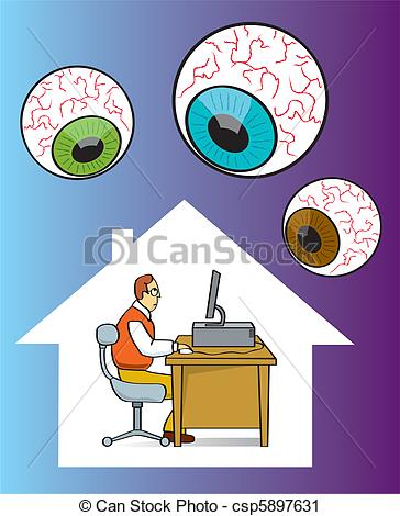 Invasion clipart privacy Art Clip while Internet Vector
