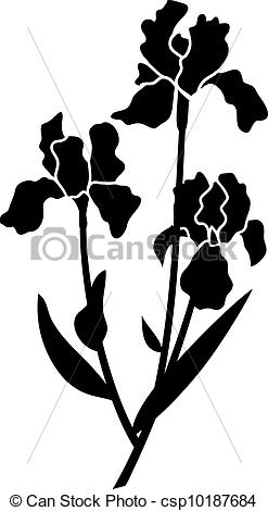 Iris clipart black and white #11