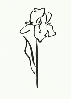 Iris clipart black and white #12